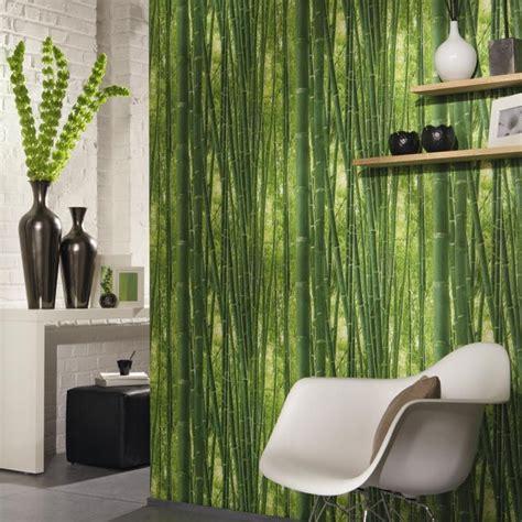 papier peint lutece foret bambou vert en  travaux