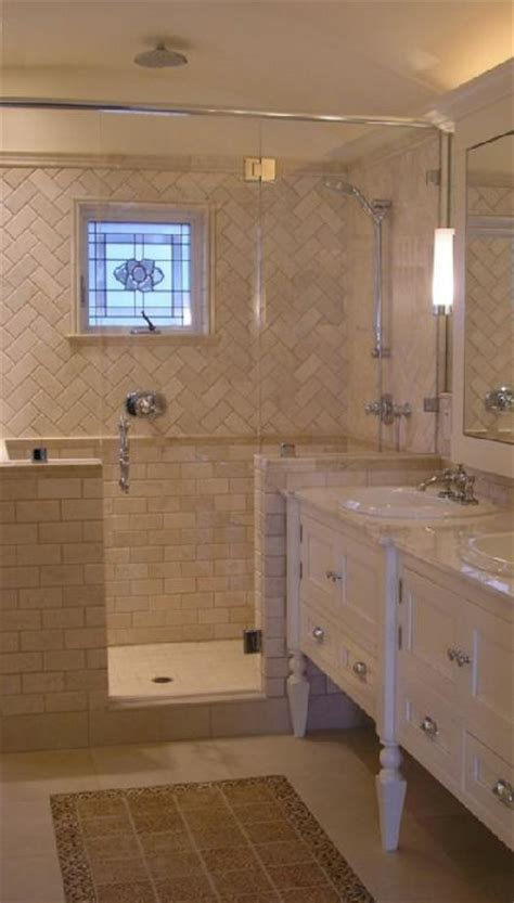 chevron tiles transitional bathroom design moe