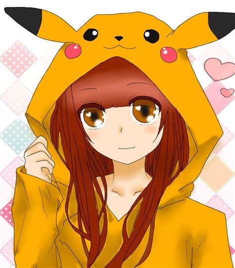 Anime Girl Wearing Pikachu Hoodie