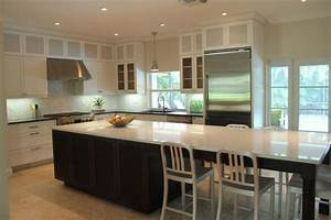 30 kitchen islands with tables a simple but very clever combo With kitchen cabinet trends 2018 combined with large custom stickers