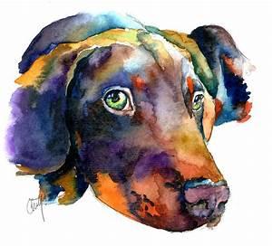 Doberman Watercolor Painting by Christy Freeman