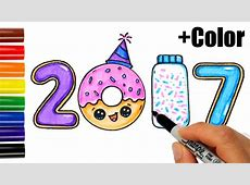 How to Draw + Color 2017 as Cookies, Donut, Sprinkles