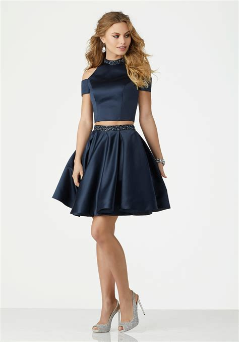Two Piece Satin Cocktail Dress With Beaded Trim And Cold
