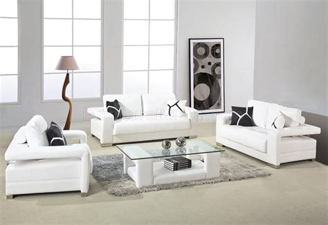 White Living Room Leather Furniture by 2926 Sofa Set In White Bonded Leather By Vig