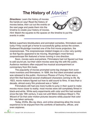 history of timeline worksheets and history