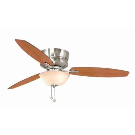 home depot flush mount ceiling fan hton bay rapallo 52 in brushed nickel ceiling fan