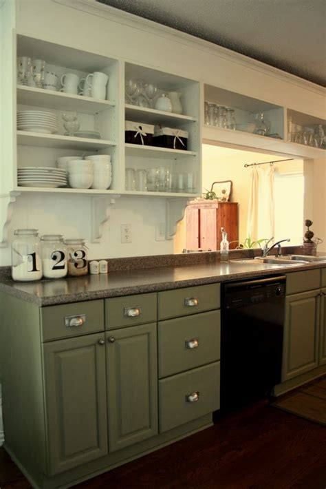 Green Kitchen Cabinets With White Appliances by Return To Home The Two Toned Kitchen
