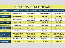 Hebrew Calendar Hebrew Holiday Calendar
