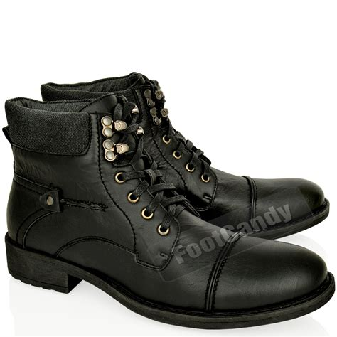 mens biker shoes mens leather army military biker combat lace up low heel