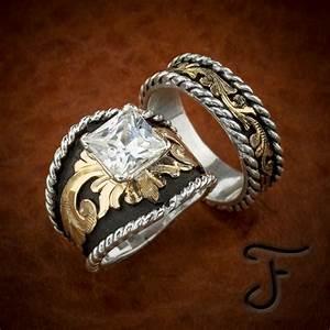 buckle western inspired wedding band set ring cowboy With western wedding ring