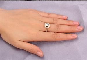 Lovely Halo Wedding Ring 1.00 Carat Princess Cut Diamond ...