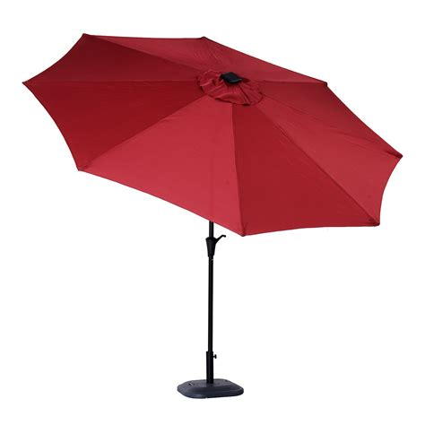 outsunny 10 solar powered led lit market patio umbrella