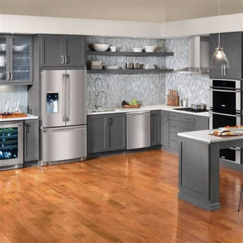 contemporary slate grey cabinets  stainless appliances