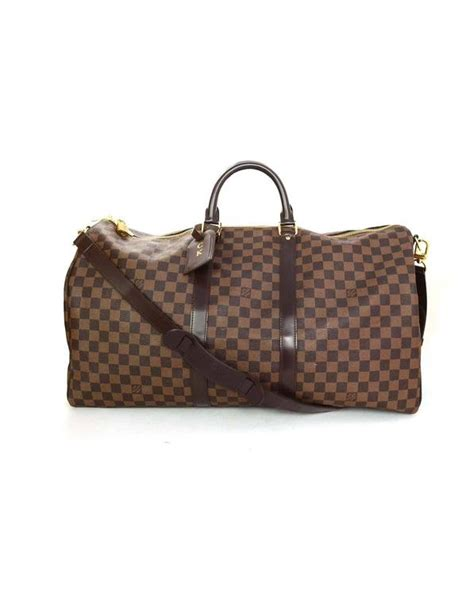 louis vuitton brown leather luggage tag  initials ck  sale  stdibs