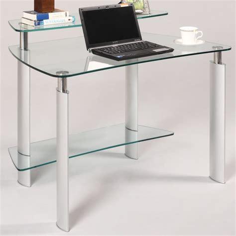 modern glass computer desk clear glass computer desk modern desks and hutches