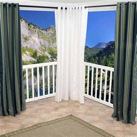 shop white polyester grommeted outdoor curtain 50 x 108