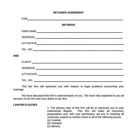sample retainer agreement templates  google
