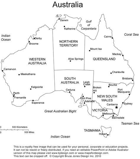 australia printable blank map administrative districts