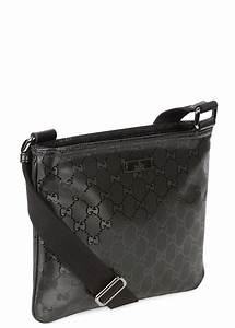 811d6250701a06 lyst gucci black monogrammed coated canvas messenger bag in black for men