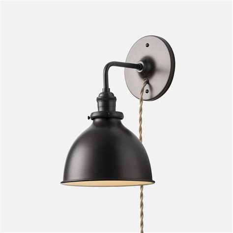 black wall l plug in wall sconce light fixture home lighting one light olde