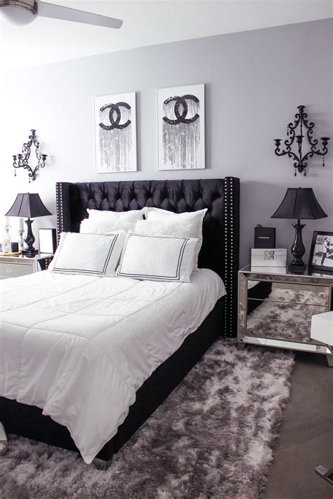 black white bedroom decor reveal