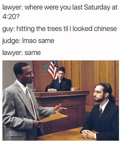 Meme Lawyer - lawyer where were you last saturday at 420 guy hitting the trees til l looked chinese judge