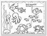 Aquarium Colouring Clipart Coloring Kindergarten Busy Fish Printable Preschool Preschoolers Tags Enjoy Salvo sketch template
