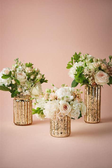 fluted mercury vases  bhldn wedding flowers