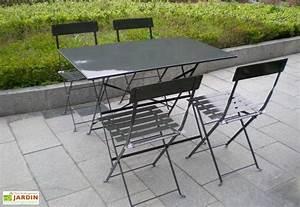 Salon De Jardin Metal : table pliante rectangulaire cytadine 4 chaises m tal ~ Dailycaller-alerts.com Idées de Décoration