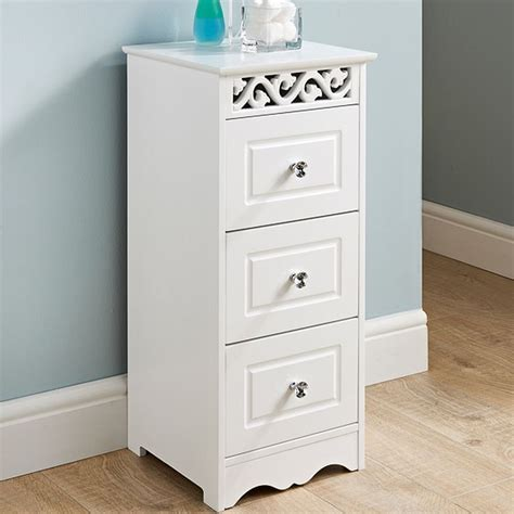 Chest Of Drawers Bathroom by White Wooden Narrow Bathroom Chest Of 3 Drawers
