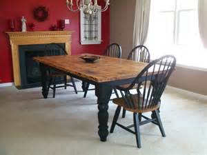 Black Windsor Dining Chairs by Rustic Table Using Knotty Pine Legs Amp Skirting Set