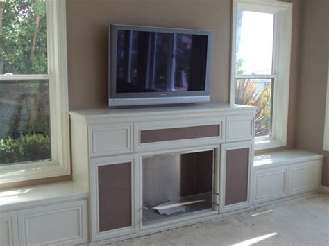 fireplace bench seating built  cabinet  bench seats
