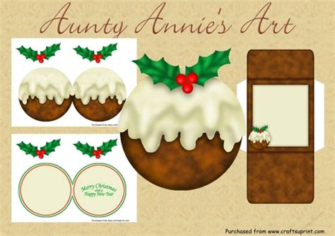 shaped card christmas pudding cup