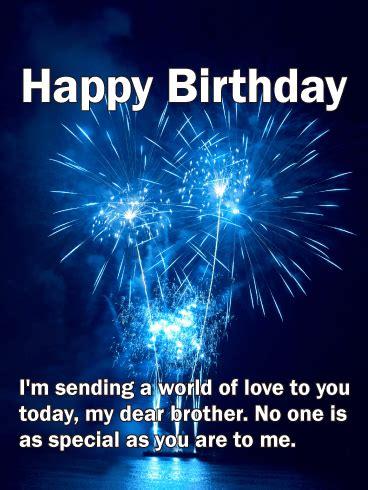 blue fireworks birthday card  brother birthday