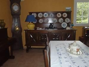 Couleur murs salon salle à manger et meuble rustique chêne foncé vernis