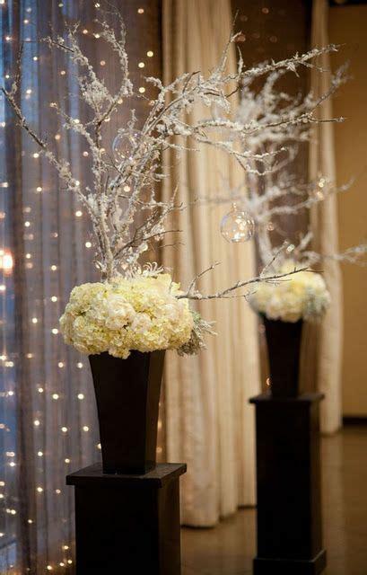 iced branches white flowers winter wonderland wedding