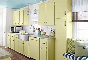yellow cabinets eclectic kitchen valspar play bill With kitchen cabinets lowes with blue and silver wall art