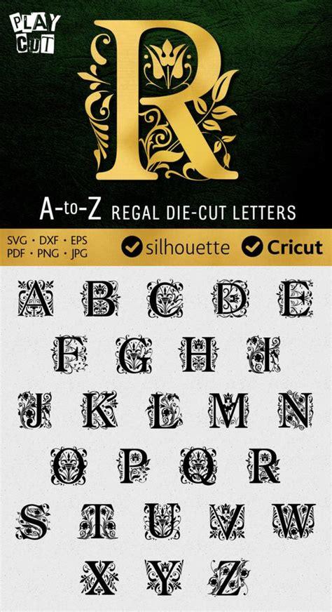 regal monogram font svg ornate letters  silhouette dxf svg