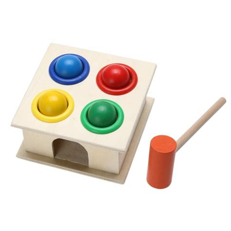 newborn colorful hammering wooden ball hammer box