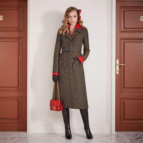 Brown canvas trench coat - OVERCOAT   Fendi   Fendi Online ...