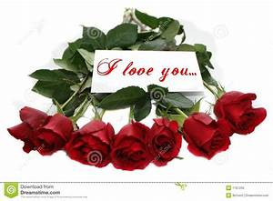 Red Roses With Note I Love You Stock Image - Image: 1787265