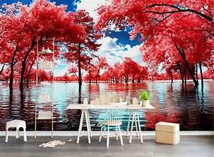 Custom 3d mural wall scenery wallpaper Creative red tree ...