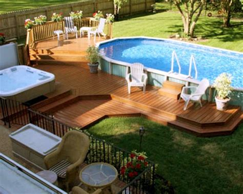 Decor Tips Backyard Ideas With Above Ground Pool Decks For