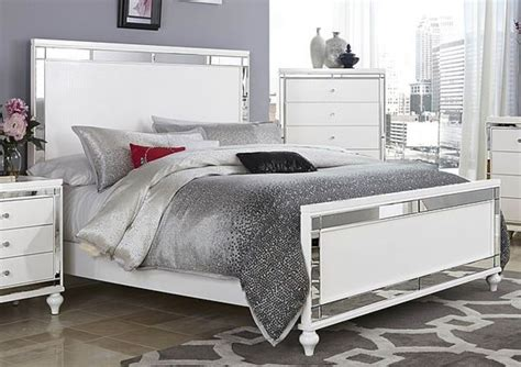 Bedroom Furniture Sets White by Glitzy 4 Pc White Mirrored Bed N S Dresser Mirror