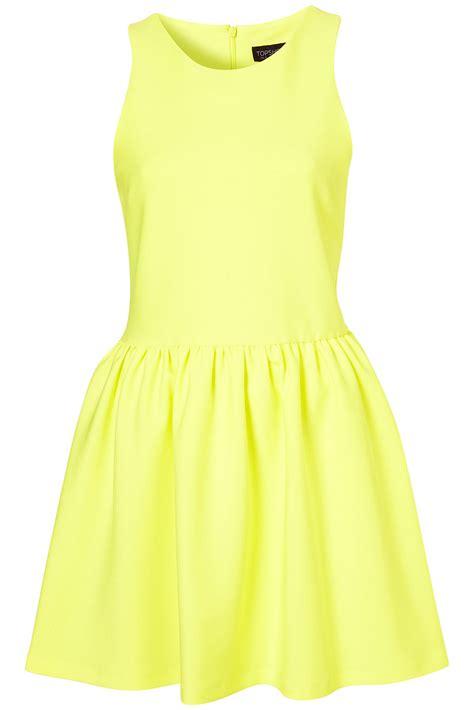 casual dress lyst topshop scuba skater dress in yellow