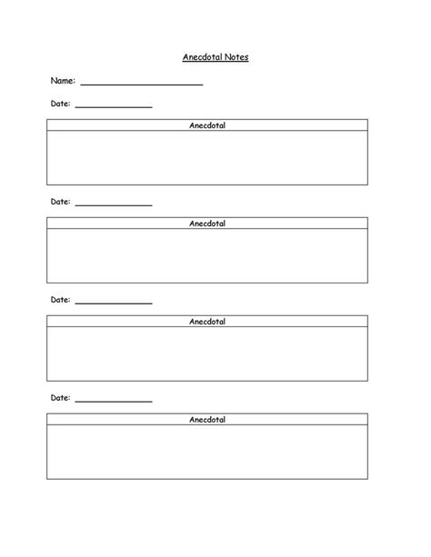 anecdotal notes anecdotal notes template could use for teaching strategies gold data collection or to collect