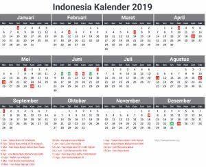 printable periodic chart kalender indonesia 2019 dengan hari libur nasional surat