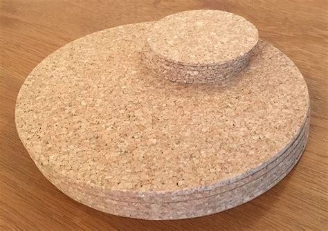 Vintage Round Cork Placemats Drinks Coasters Kitchen