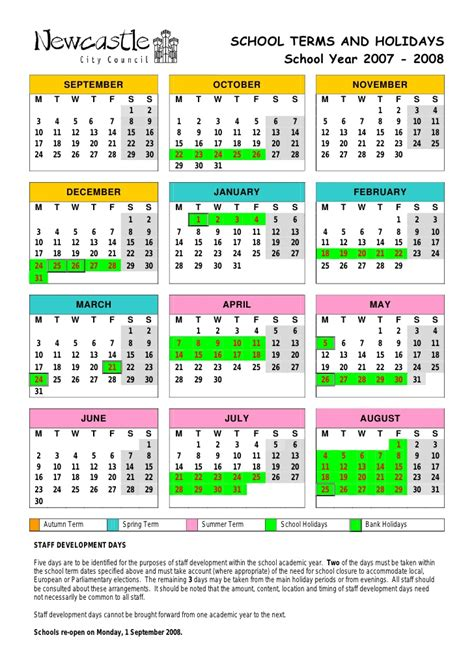 School Holiday 2007 08 Calendar Final
