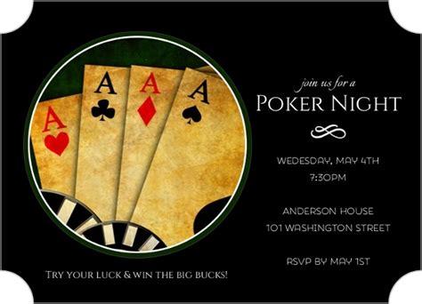 Black 4 Of A Kind Poker Night Invitation